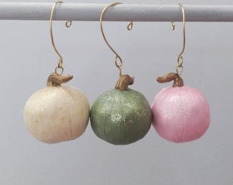 Pastel Pumpkin Thanksgiving Ornaments, set of 3