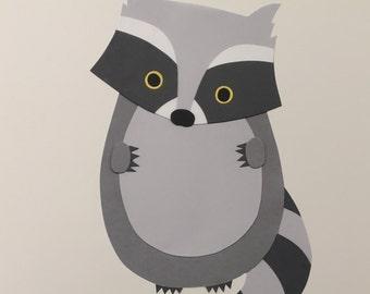 Raccoon wall sticker, raccoon decal, raccoon, raccoon nursery decoration, raccoon art print, forest animals, woodland animals, nursery