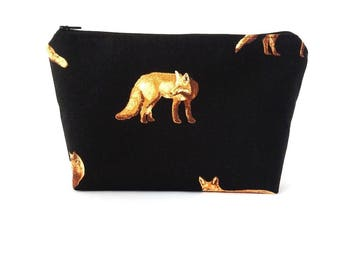 Fox cosmetic bag, Teen girl gifts, Cosmetic pouch, Black makeup bag, Large zipper pouch, Gifts for teen girls, Project bag, Fox gift Zip bag