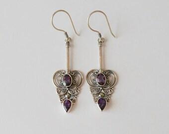 Beautiful Balinese Sterling Silver genuine amethyst gemstone dangle Earrings, handmade earrings, silver earrings, Birthstone,