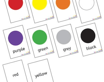 English/French Colours Posters Flashcards EYFS KS1 Educational Learning Resource Printable PDF