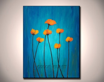 POPPIES- Mounted Art. Blue and Orange. Free Shipping. Ready to be displayed.