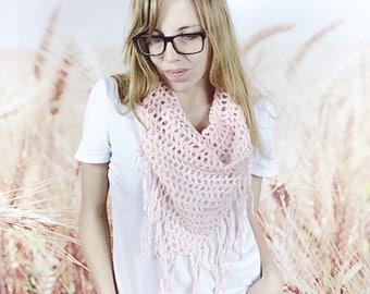 Crochet Triangle Fringe Scarf, Spring Scarf, Boho Triangle Scarf, Beach Cover Up, Fringed Scarf, Boho Summer Fashion - {BLUSH}