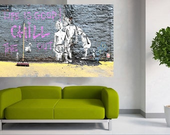 Life is good... Street Art Canvas Print by Andy Baker of Bald Art. This is NOT A BANKSY Series. Large Urban Art Limited Edition Print.