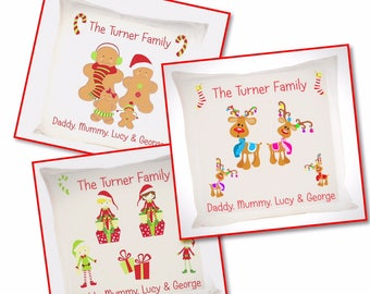 Christmas/Xmas Festive Family Cushion/Pillow - Gingerbread/Reindeer/Elf characters