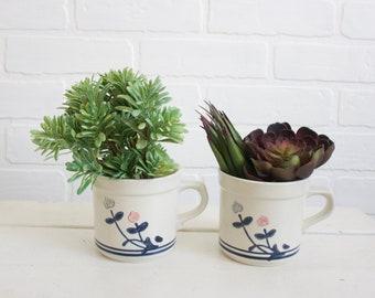Vintage Pfaltzgraff Windsong Mug Set, Floral Mug Set, Vintage Mug Set, Tulip Mug, Retro Mugs, Vintage Kitchen, Floral Mugs, Retro Kitchen