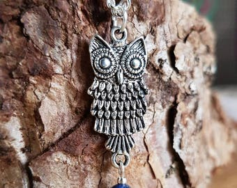 Silver Owl Necklace with Lapis Lazuli Bead // Owl Gift