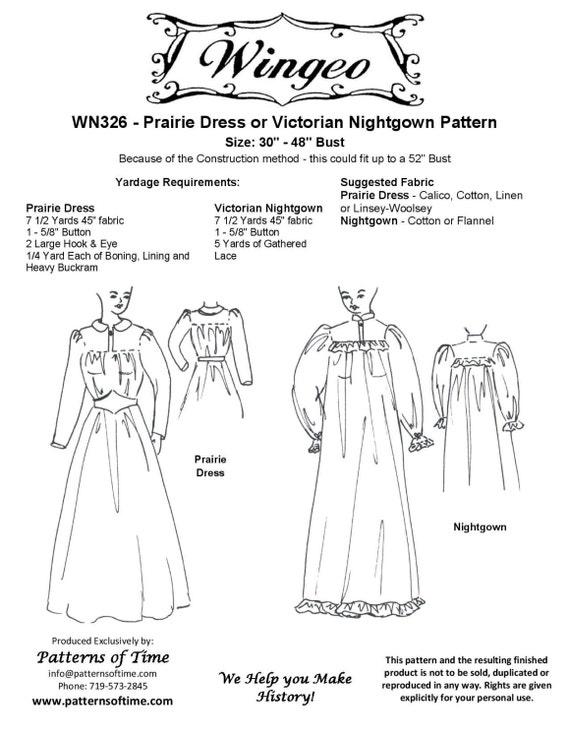 WN326 - Western/viktorianischen Ära Prairie Kleid oder Nachthemd ...