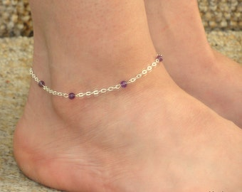 Silver amethyst ankle bracelet, Silver anklet, Silver amethyst ankle jewelry, Foot bracelet, Ankle bracelet UK, Amethyst ankle bracelet
