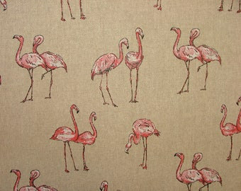 Mini Prints Flamingos Country Side Animals Linen Look Fabric Curtain Upholstery