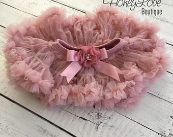Vintage Pink Pettiskirt, embellished flower bow, skirt tutu, photo shoot special occasion dress, newborn infant baby toddler little girl