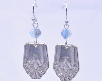 Vintage Silverware Earrings with Leaf Pattern on Both Sides with Blue Beads