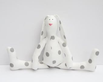 Rabbit toy Easter Bunny doll stuffed bunny soft rabbit hare plush white gray polka dots softie stuffed toy baby shower gift nursery decor