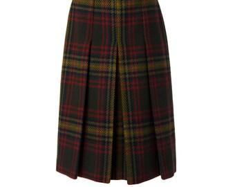 Vintage Wool Plaid Pleated Skirt
