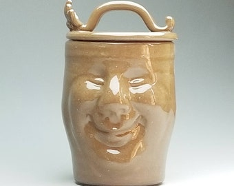 Ceramic Face Jar with HANDle, (FREE Pottery GIFT with Order) Hand Sculpted Canister, Fun Container, Pint Sized