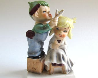 Vintage Figurine, Mid Century, Japan, Hand Painted, Matte and Gloss Glaze, Children Playing, Haircut, Salon, Boy and Girl Figurine, Scene