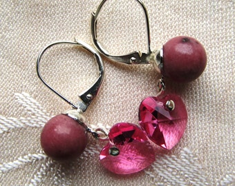 Rhodonite Half-drilled Rounds and Swarovski Crystal Hearts Silver Plated Earrings