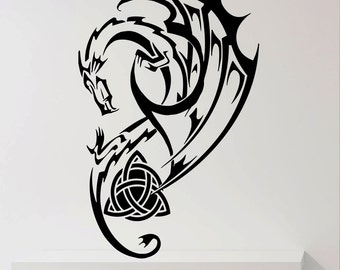 Dragon Wall Decals Wall Design Vinyl Home Art Decor Sticker Decals Mural  Tribal Celtic Dragon T052