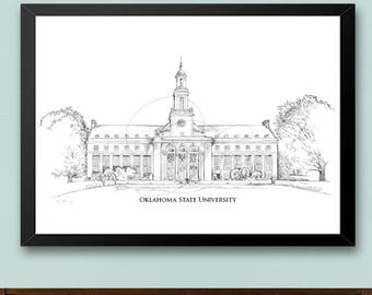 Oklahoma State University - OKSTATE, Fine Art Print, Hand Drawn, Watercolor Paper, Signed Art ( Sizes  5 x 7 -  16 x 20)