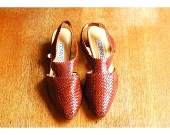 vintage brown woven leather shoes / size 6.5