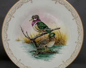 Vintage Boehm Water Bird Bone China Plate North American Wood Ducks, Limited Edition