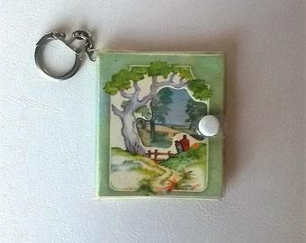 Vintage mini book keychain