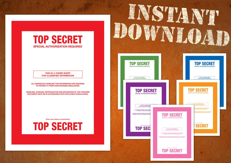 TOP SECRET classified document cover sheets multiple colors ...