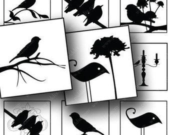 Black and White Silhouette Birds and Swirls in 1 inch squares -- piddix digital collage sheet 648