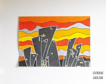 """The City """"original"""" • ink and felt on paper, A4 drawing urban Theme • •"""