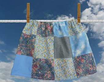Girls Patchwork Skirt, Blue Patchwork Skirt, Handmade Skirt, Vintage Fabric, Flower Designs, Elastic Waist, Unique Clothing, Childrens Skirt