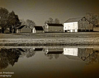 Patterson Farm Reflection Photograph,  Sepia Farm Photography, Yardley, Bucks County, Pennsylvania, Pond, Historic, Farmhouse, Landscape
