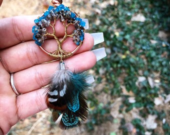 Apatite Crystal and Smokey Topaz Crystal Tree of Life Crystal Necklace, Gemstone Necklace, Chakra jewelry, Boho jewelry