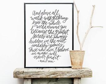 Believe in Magic - Roald Dahl Quote - Lettered Artwork