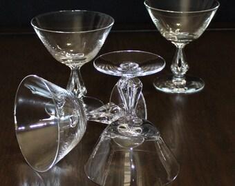 Lovely, Set of 4, Vintage Fostoria Symphony Champagne Glasses, Coupe