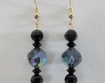Elegant Vintage Swarovksi Crystal Dangle Earrings, Montana AB and Jet Black, Gold Filled Ear Wires