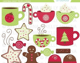 Christmas Sweet Treats and Drinks - Clip Art Set - Digital Elements Commercial use for Cards, Stationery and Paper Crafts and Products