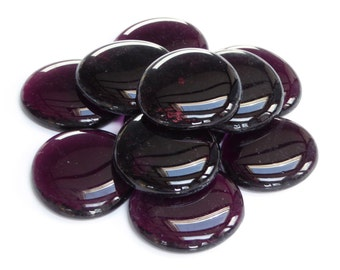 6 x Large Glass Pebbles - Dark Purple Crystal