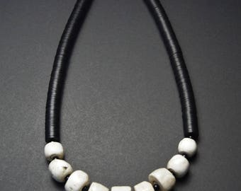 Ethnic Naga India Statement Necklace, Old Conch Shell Beads, African Vinyl, Tribal Necklace, Free Shipping