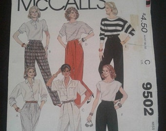 Weekend 10% Off Vintage McCall's Pattern 9502; ©1985 -  Miss Size: 10- Pants - UnCut