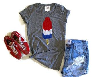Womens July 4th SEQUIN Bomb Pop T Shirt. 4th of July. Stars and Stripe. Fourth of July Shirt. America Tee. USA Tank Top. Red White Blue. USA