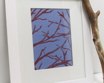 Linocut - Crimson Branches Embrace - Hand Rolled Linoleum Print, limited edition