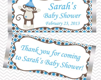 Sock Monkey Blue - Personalized Candy Bar Wrapper
