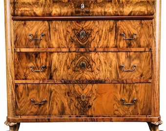 Danish 19th Century Small Chest of Drawers of Highly Figured Walnut.