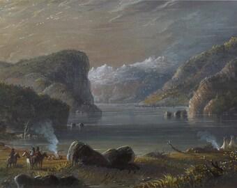 Alfred Jacob Miller: Lake Scene. Fine Art Print/Poster. (003832)