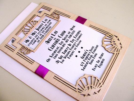 Great Gatsby Wedding Invitation: Great Gatsby Wedding Invitation And Response Card: Laser Cut