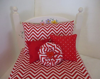 American Girl Red and White Chevron Doll Bedding
