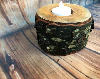 Wood tea light holder, reclaimed wood candle holder, primitive wood decor, wood pillar candle holder, rustic tea light, candle holder, table