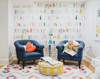 NEW Leo's Library Mural - Jillian Harris Library, Books Wallpaper