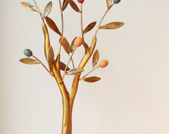 Olive tree sculpture with colourful olives, brass mini sculpture of minimal olive tree, oxidised brass olive tree with ceramic olives