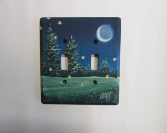 Double Switch Plate   with Fireflies